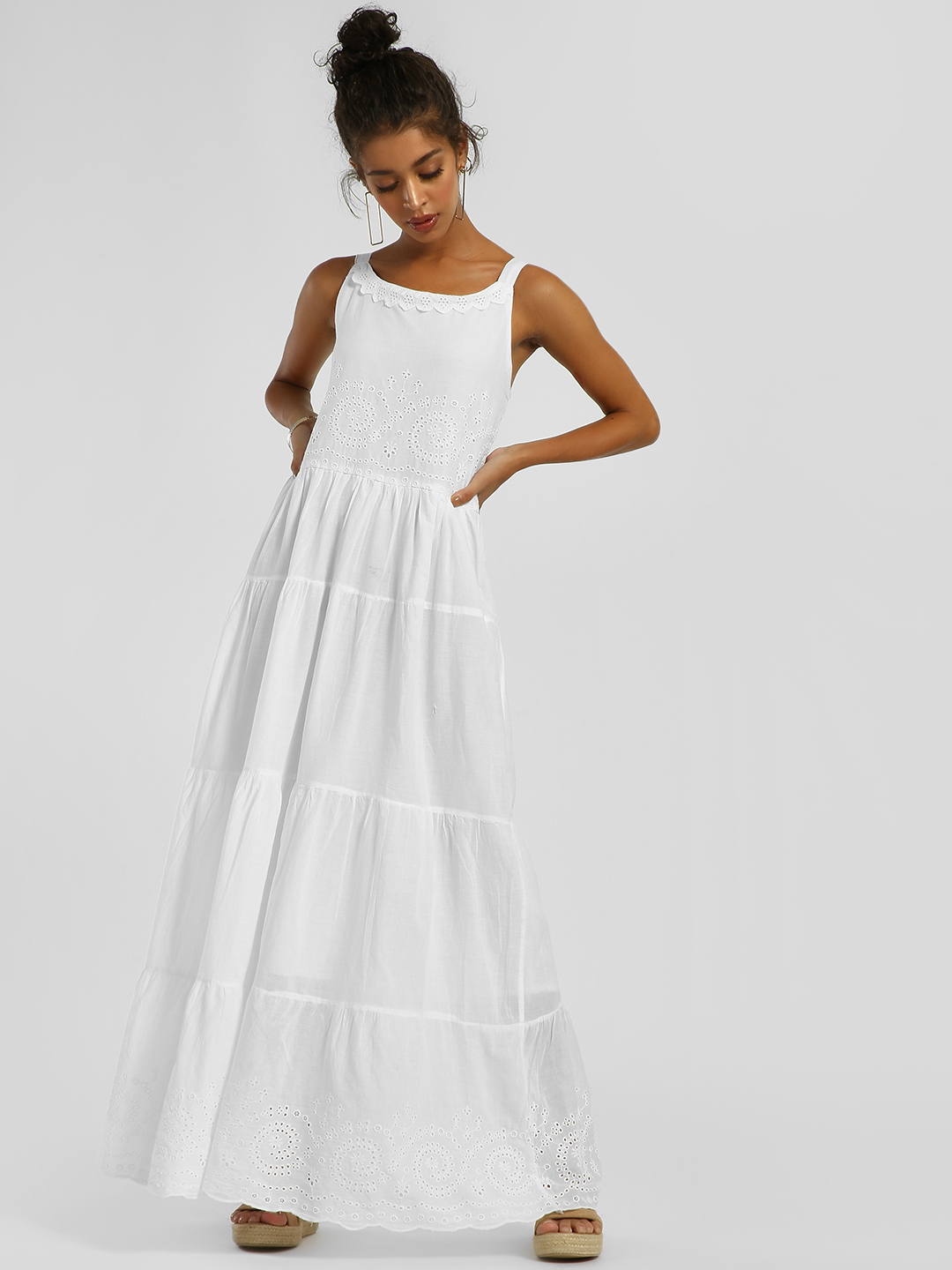 Kisscoast White Strappy Broderie Detail Maxi Dress 1