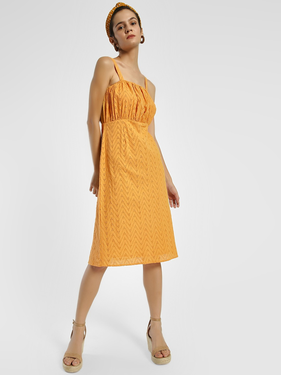 Rena Love Yellow Broderie Strappy Midi Dress 1