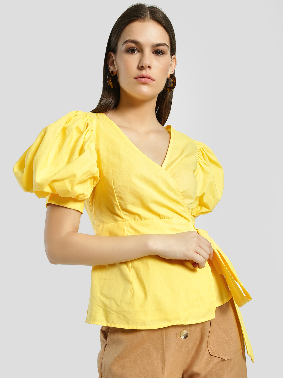 Rena Love Yellow Volume Sleeve Wrap Blouse 1