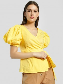 Rena Love Volume Sleeve Wrap Blouse