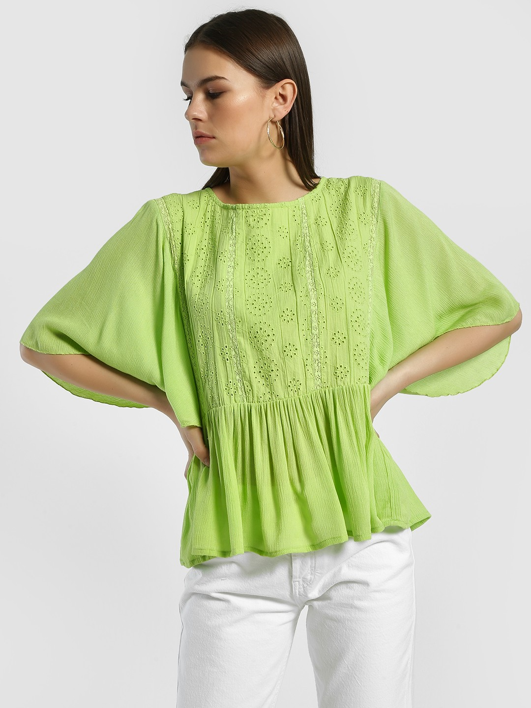 Rena Love Green Broderie Detail Blouse 1
