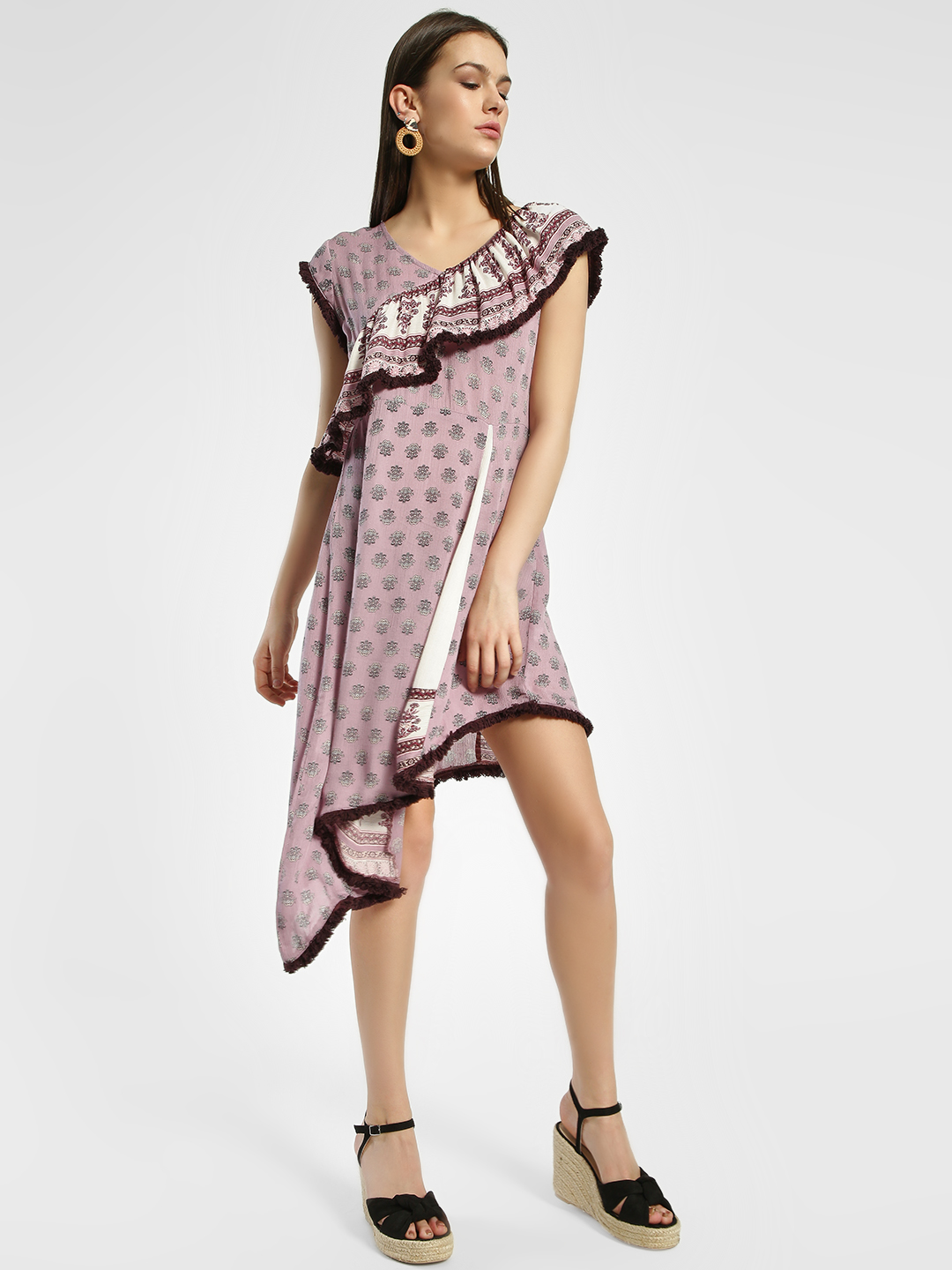 Rena Love Multi Paisley Print Asymmetric Dress 1