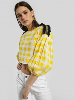 Rena Love Gingham Check Embroidered Patch Crop Top