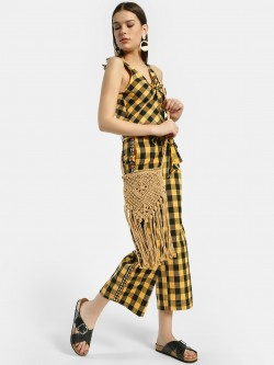Rena Love Gingham Check Cropped Trousers