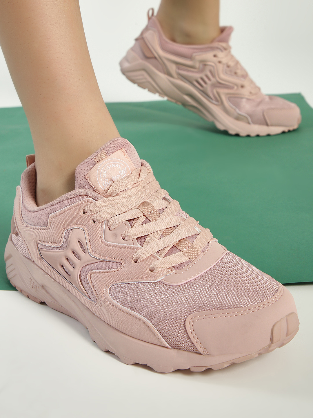 361 Degree Pink Knitted Active Running Trainers 1