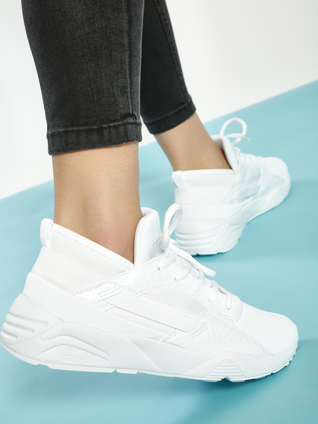 361 Degree White Crocskin Panelled Shoes 1
