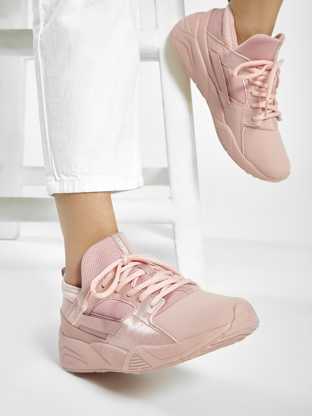 361 Degree Pink Crocskin Panelled Shoes 1