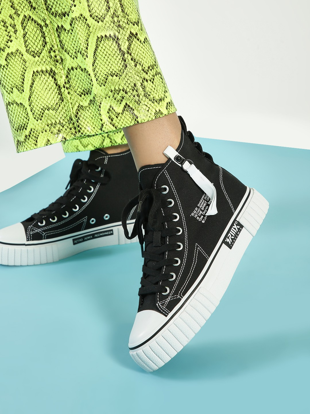 361 Degree Black Vulcanized Hi-Top Sneakers 1