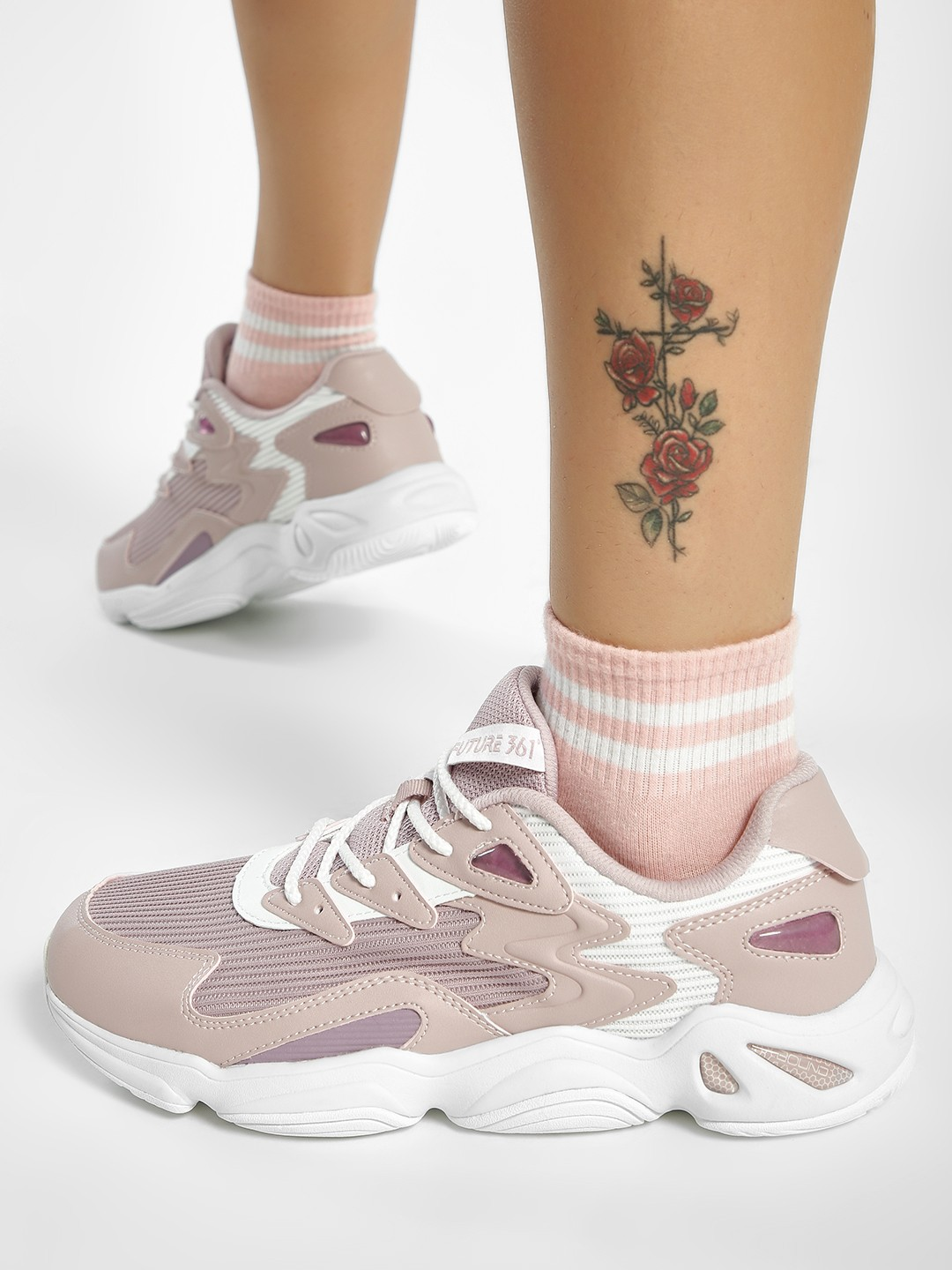 361 Degree Pink Panelled Lace-Up Trainers 1