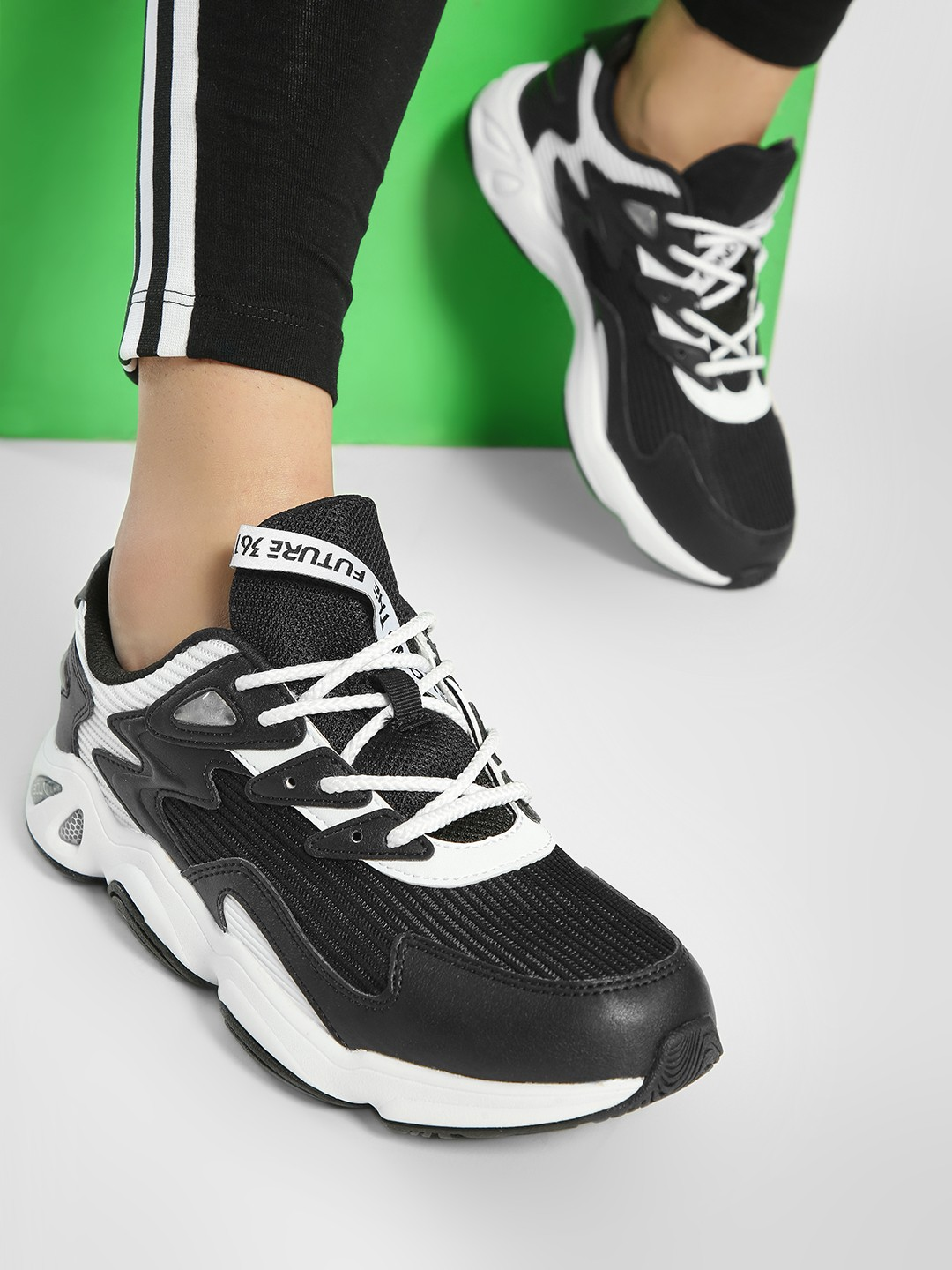 361 Degree Multi Panelled Lace-Up Trainers 1