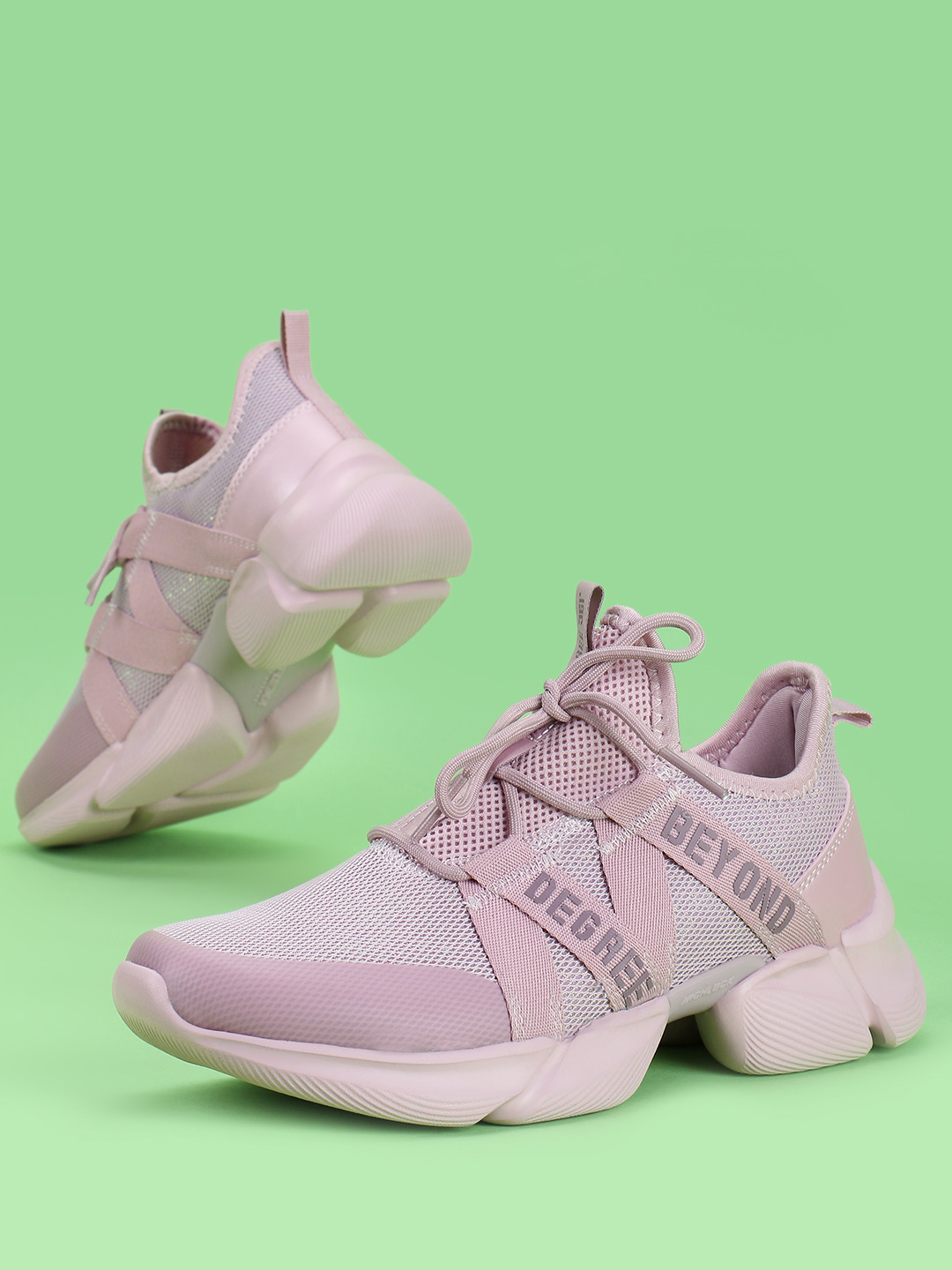 361 Degree Pink Knitted Lace-Up Trainers 1