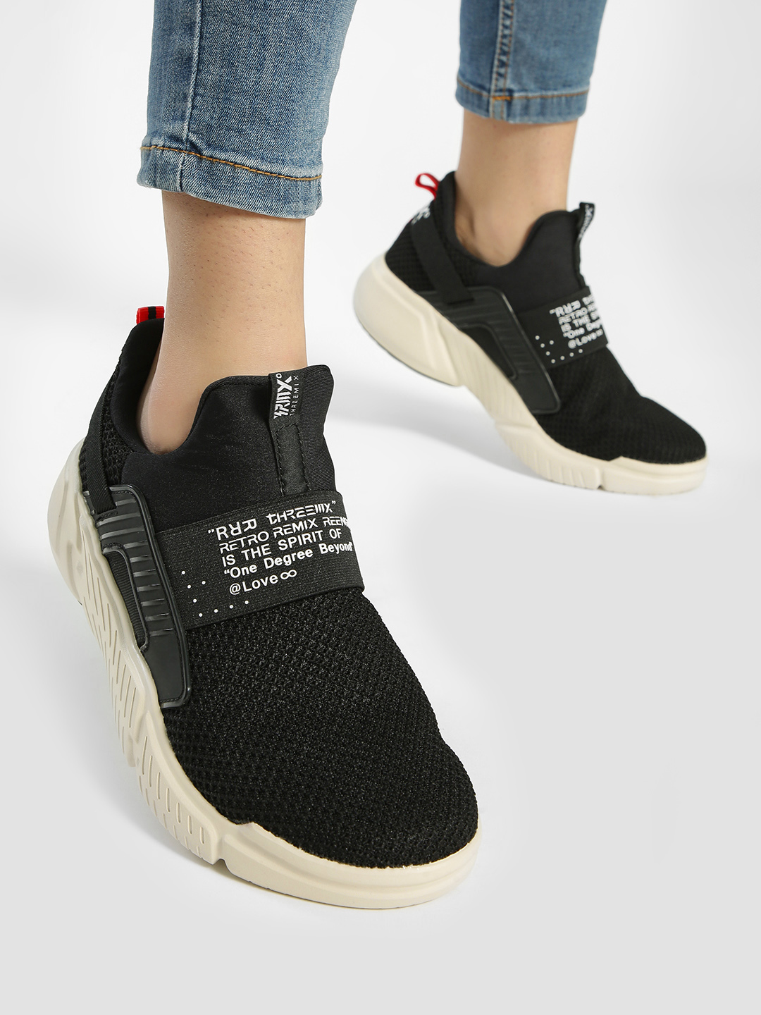 361 Degree Black Knitted Slip-On Trainers 1