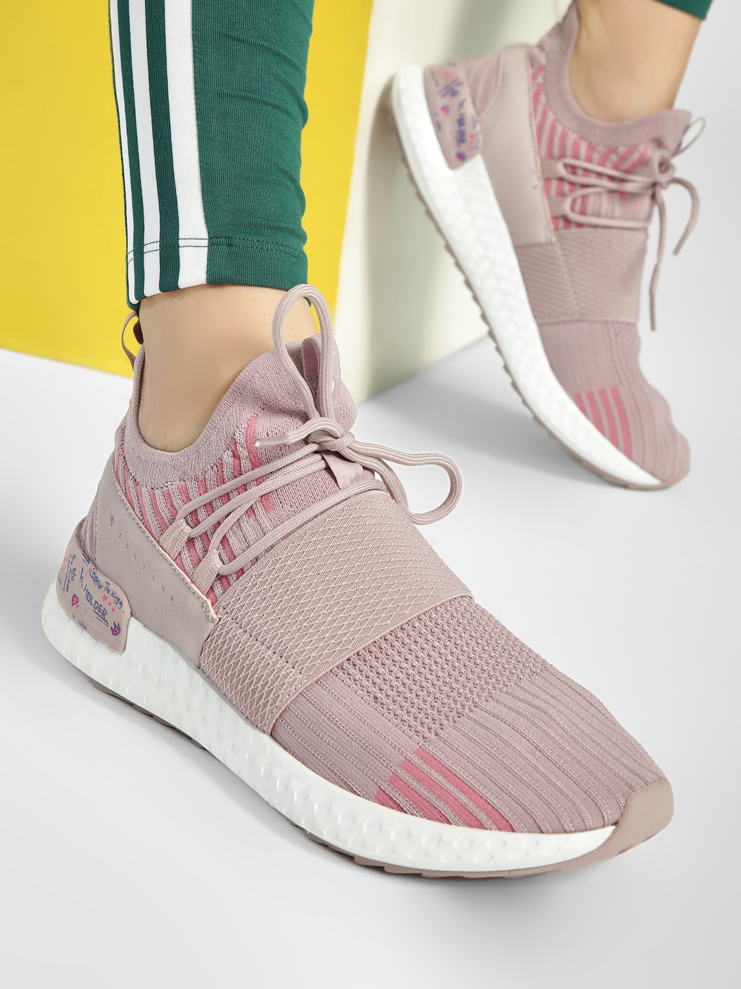 361 Degree Pink Printed Tab Knitted Sockliner Shoes 1