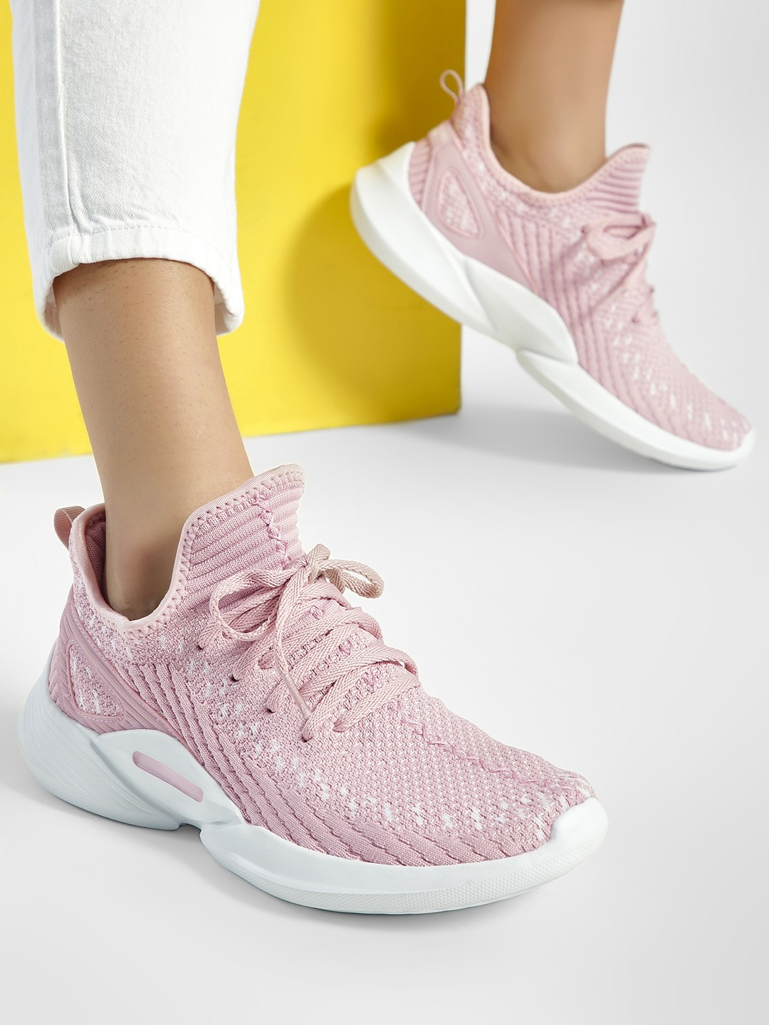 361 Degree Pink Two-Tone Knitted Trainers 1
