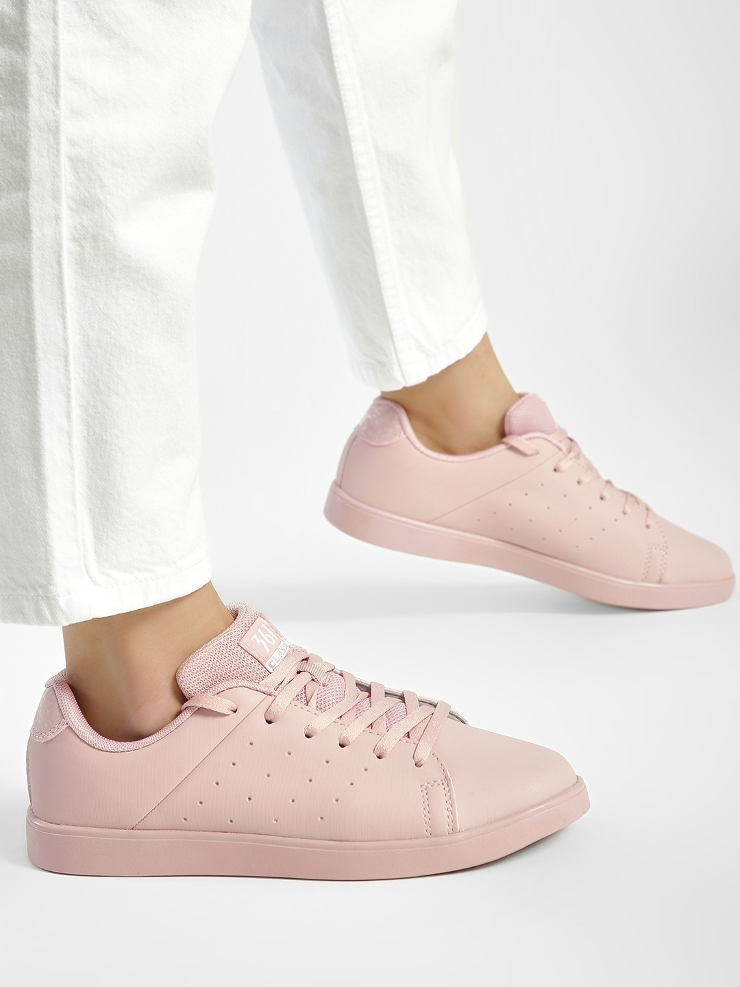 361 Degree Pink Perforated Side Lace-Up Sneakers 1