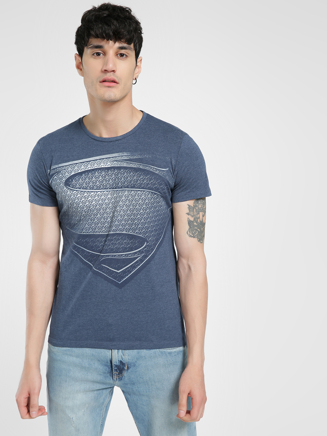 Free Authority Blue Superman Logo Print T-Shirt 1
