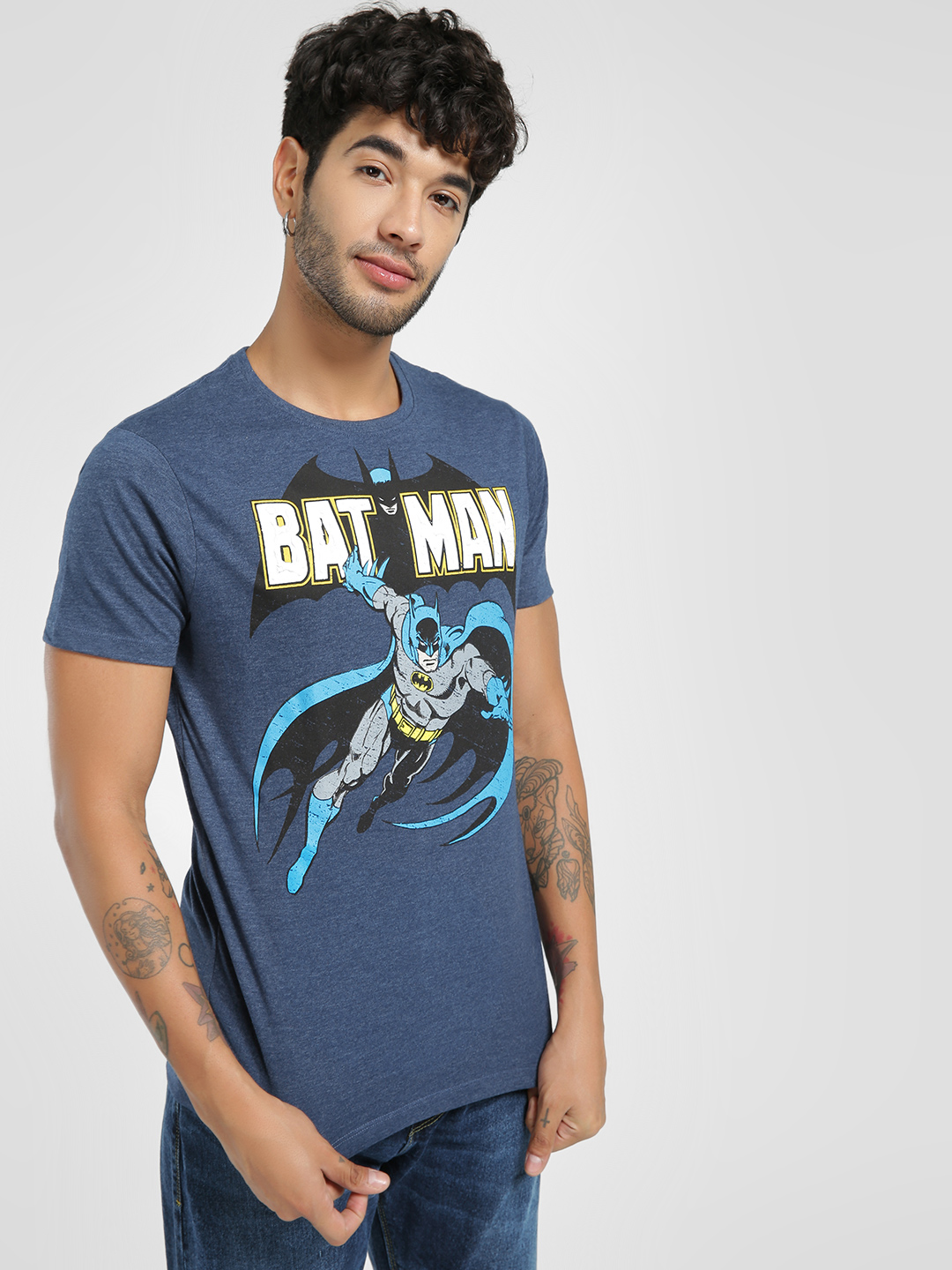 Free Authority Blue Batman Embossed Placement Print T-Shirt 1