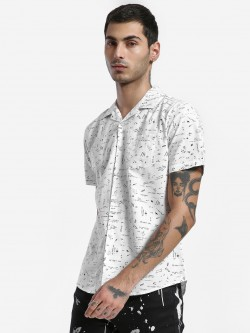 Spring Break Doodle Print Cuban Collar Shirt