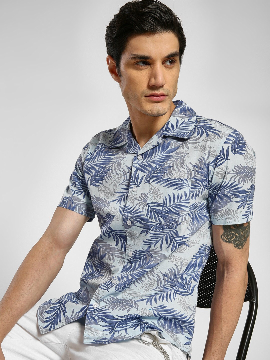 Spring Break Multi Leaf Print Cuban Collar Shirt 1