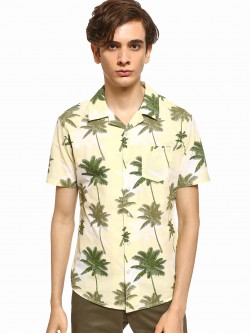 Spring Break Palm Tree Print Cuban Collar Shirt