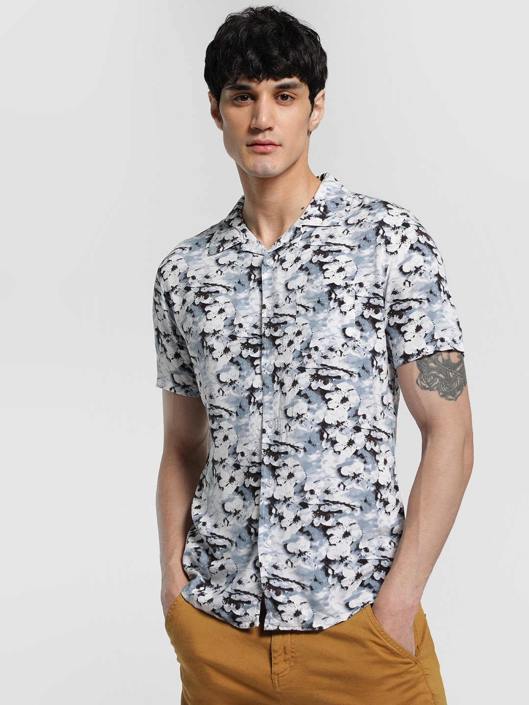Spring Break Multi Abstract Floral Print Cuban Shirt 1
