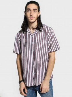 Spring Break Vertical Stripe Cuban Oversized Shirt