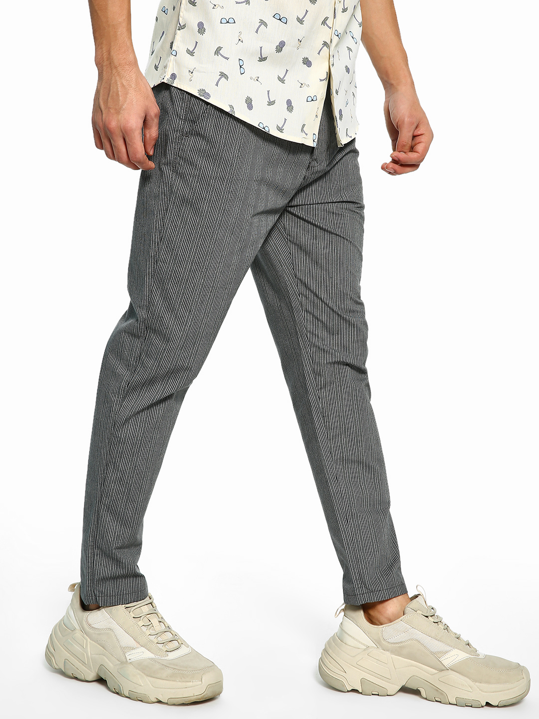 Spring Break Grey Vertical Pinstripe Slim Trousers 1