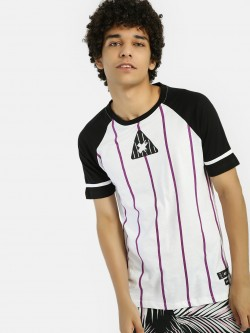 Kultprit Vertical Stripe Raglan Sleeve T-Shirt