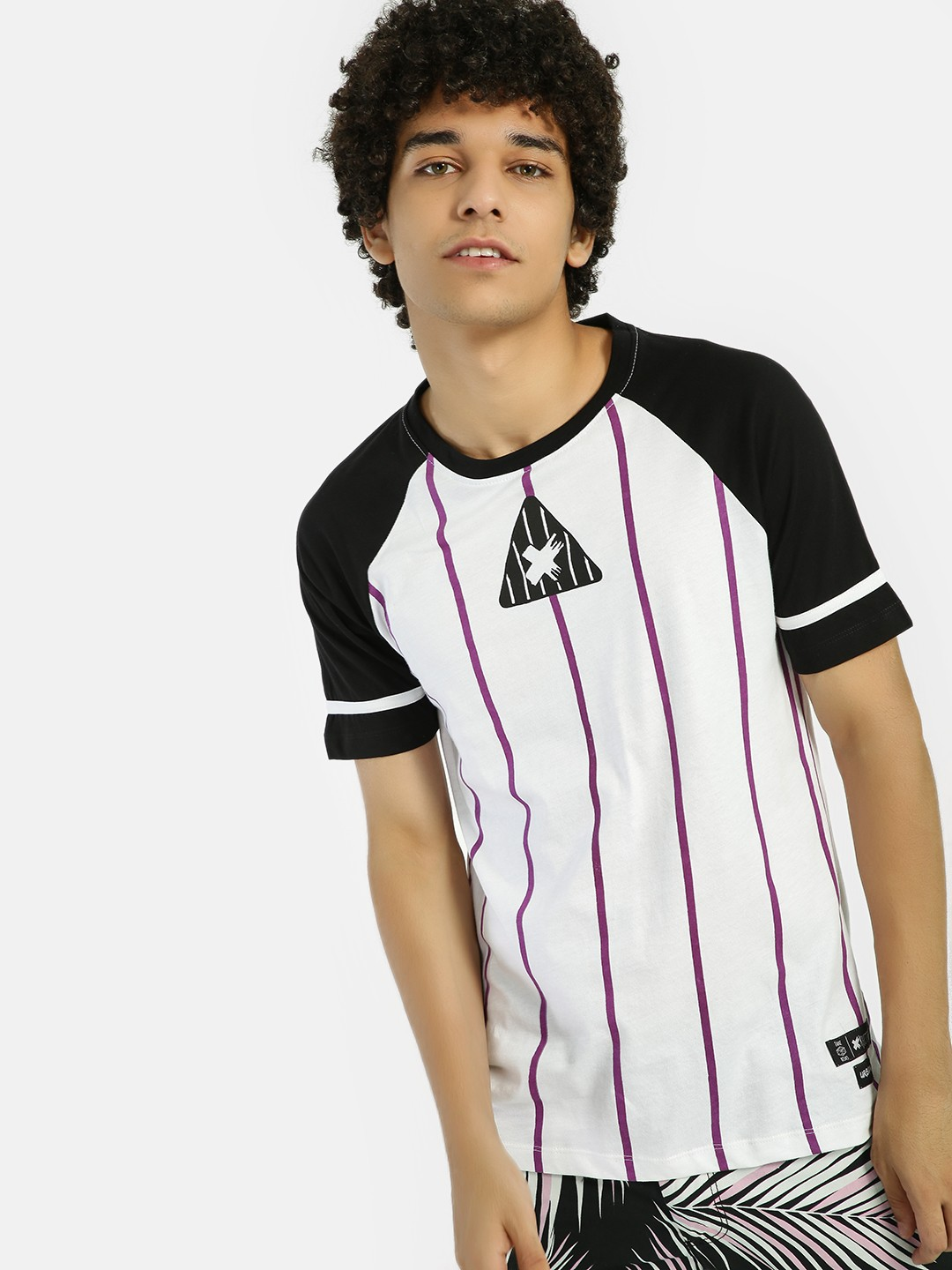 Kultprit Multi Vertical Stripe Raglan Sleeve T-Shirt 1