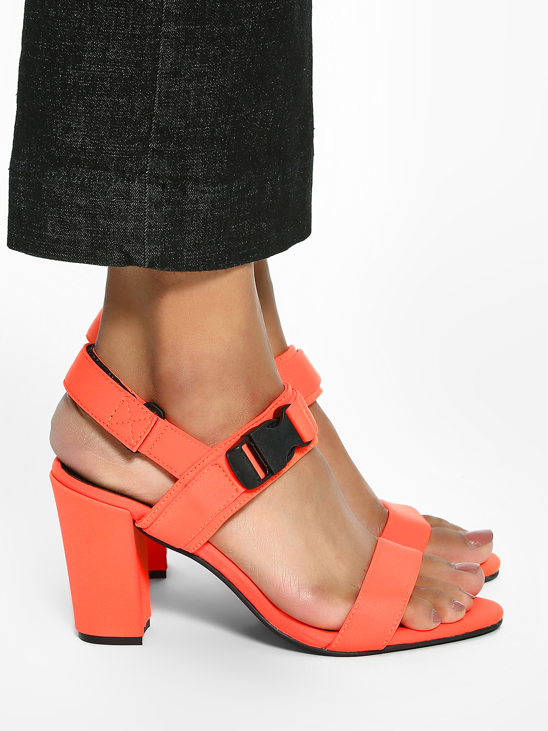 KOOVS Neon Orange Buckle Strap Heeled Sandals 1