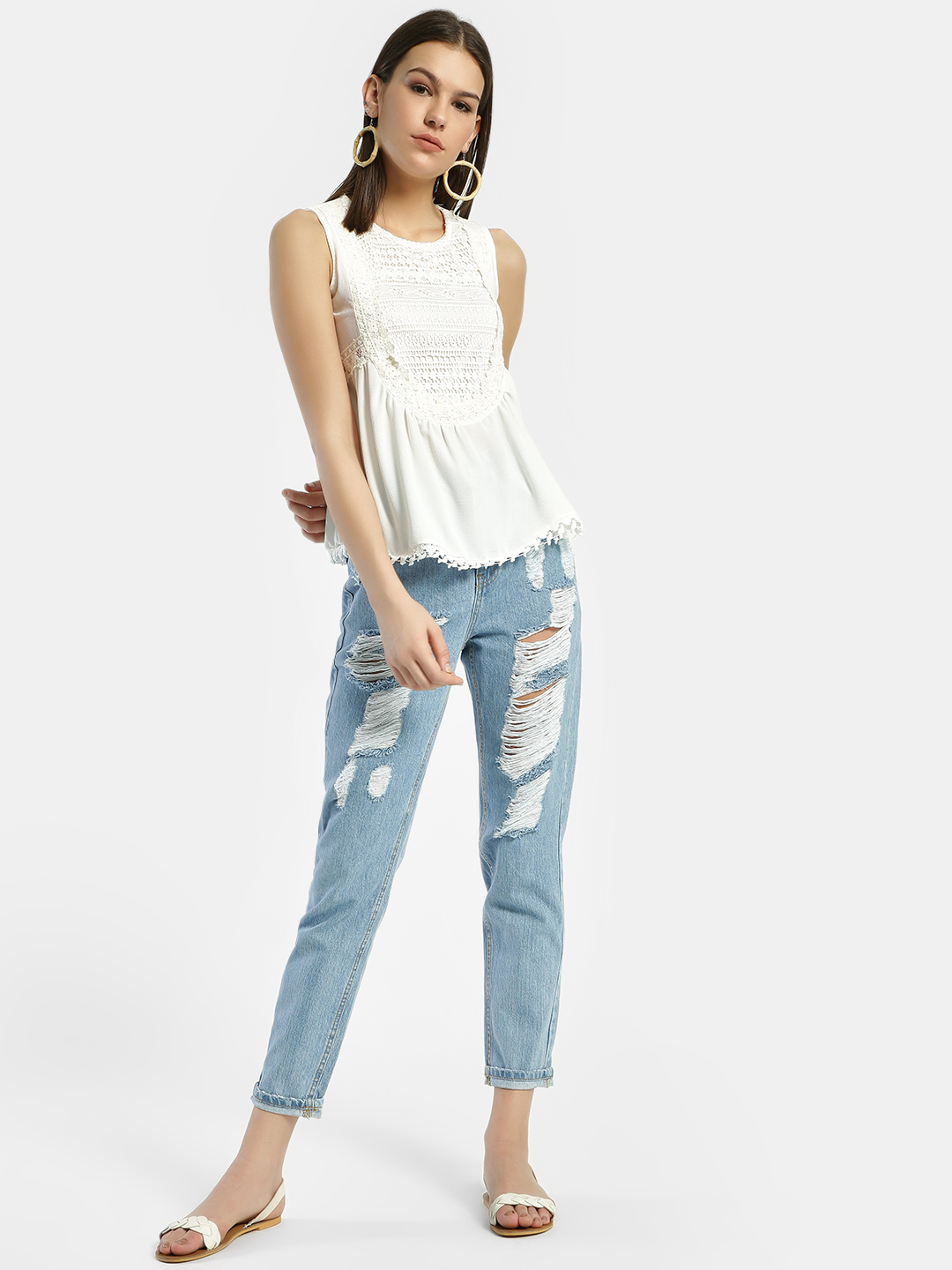 Privy League Blue Dark Wash Ripped Straight Jeans 1