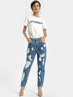 Privy League Dark Wash Ripped Straight Jeans