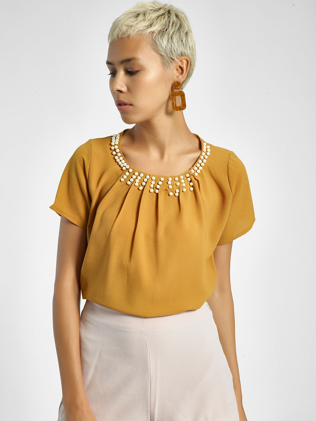 Privy League Mustard Pearl Embellished Neck Blouse 1