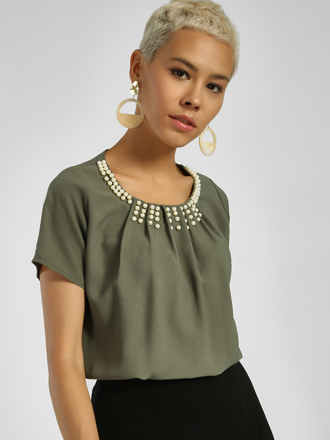 Privy League Olive Pearl Embellished Neck Blouse 1