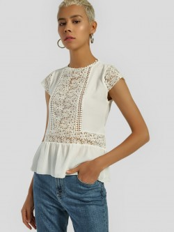 Privy League Lace Yoke Detail Peplum Top