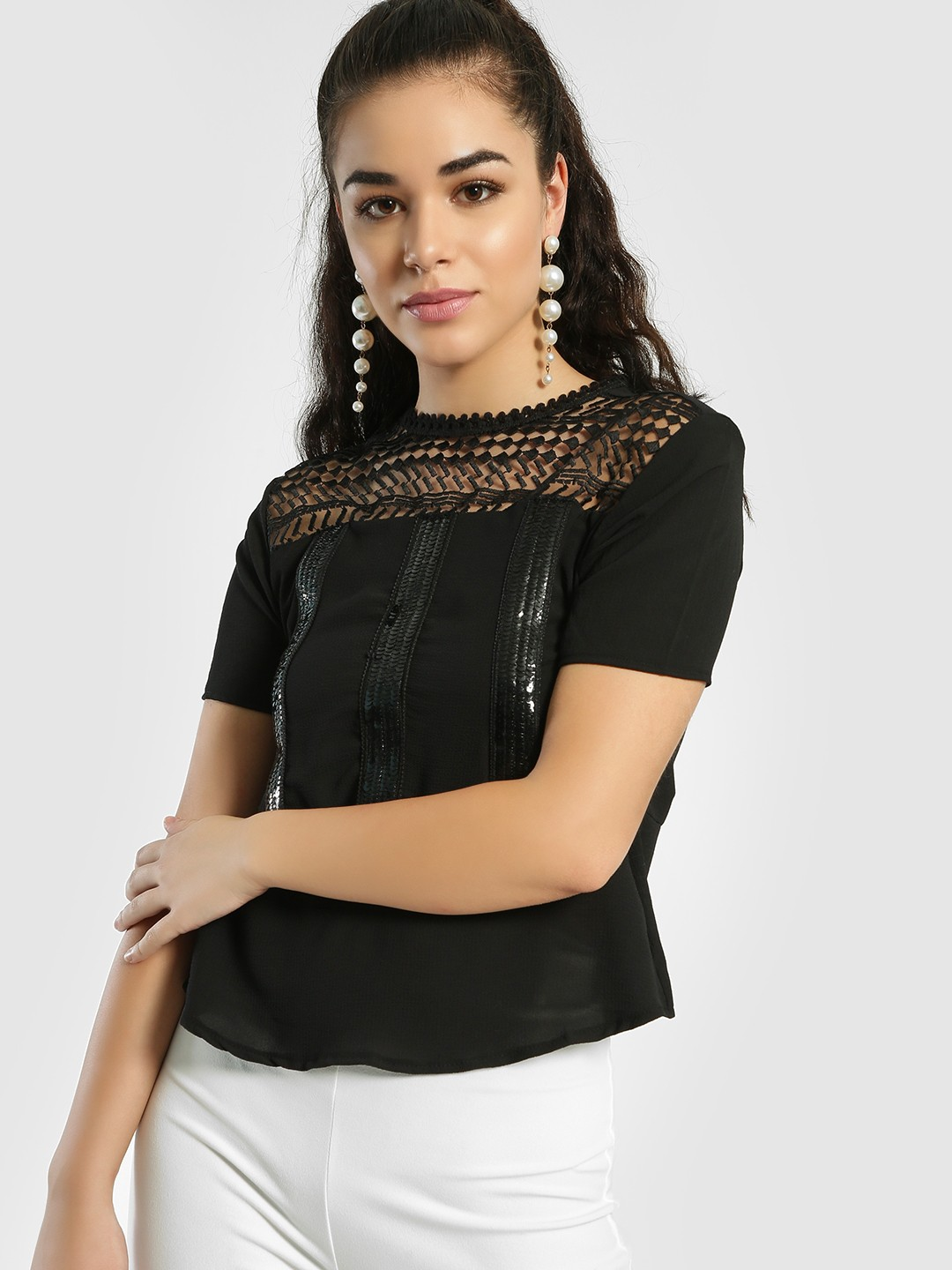 Privy League Black Lace Yoke Sequin Detail Blouse 1
