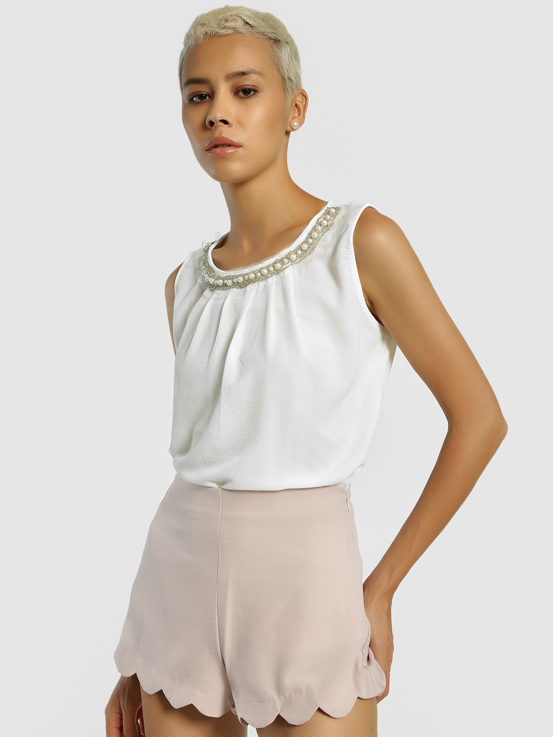Privy League White Pleated Pearl Embellished Sleeveless Blouse 1