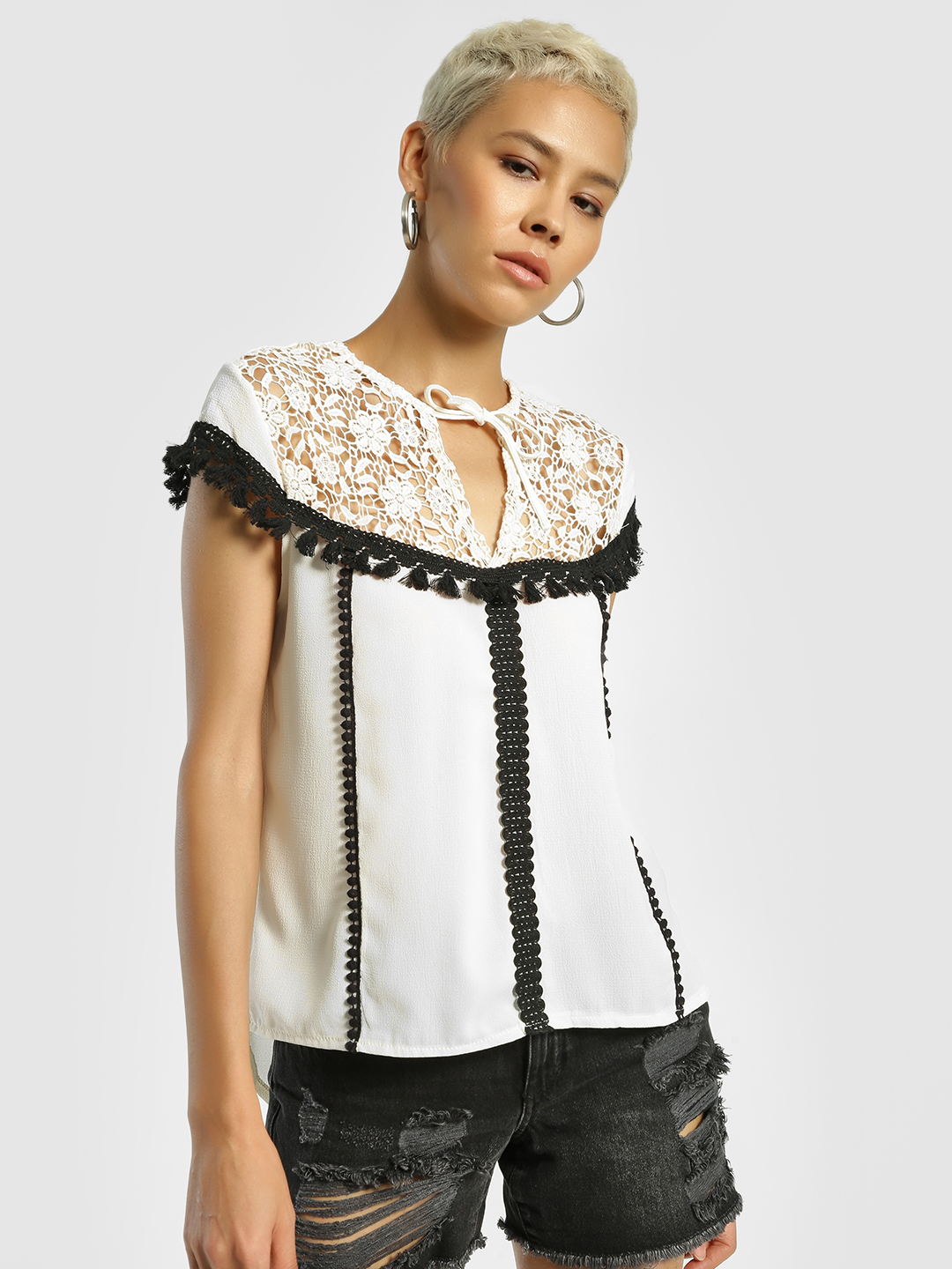 Privy League Multi Contrast Tassel Lace Detail Blouse 1