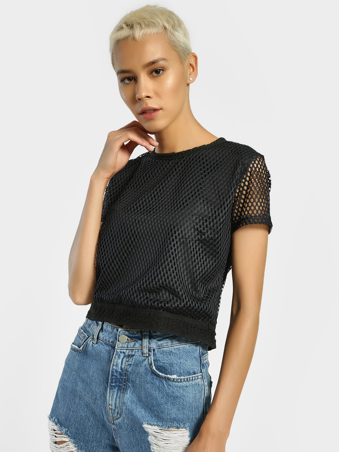 Privy League Black Mesh Overlay Crop Top 1