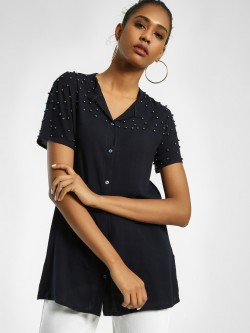 Privy League Embellished Yoke Sleeve Longline Blouse