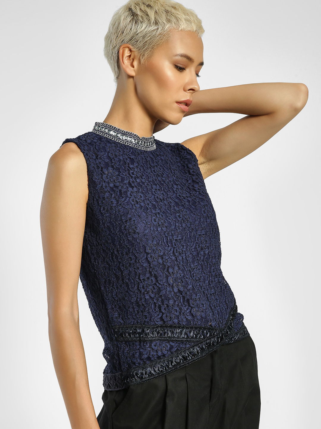 Privy League Blue Crochet Lace Sequin Detail Blouse 1