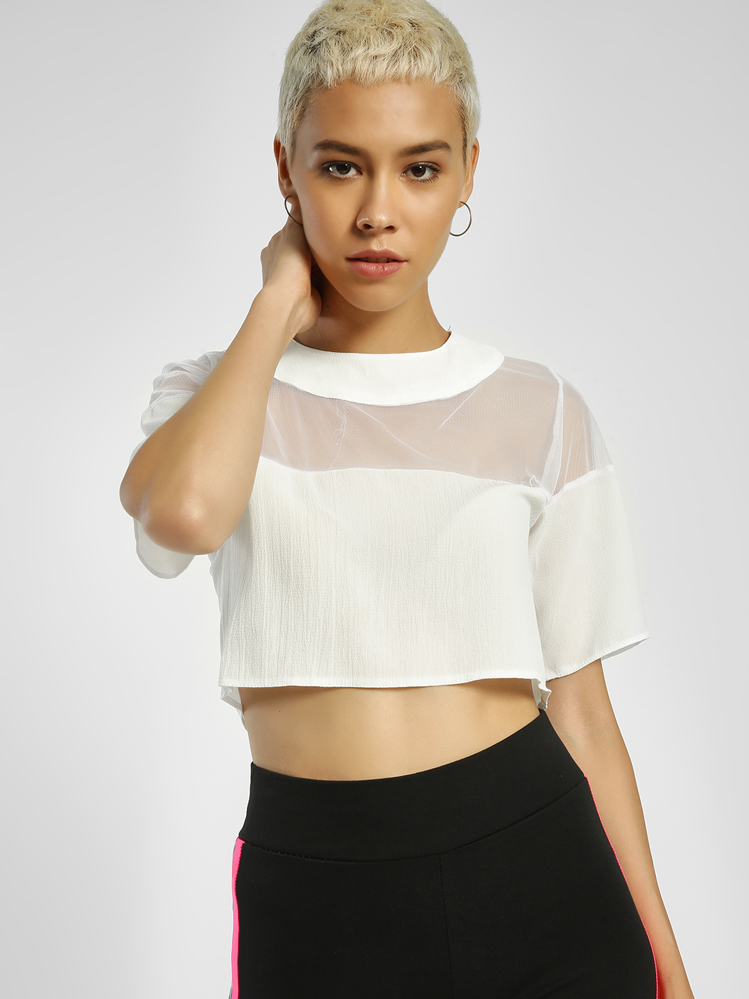 Privy League White Mesh Panel Crop Top 1