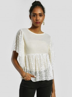 Privy League Lace Shimmer Detail Blouse