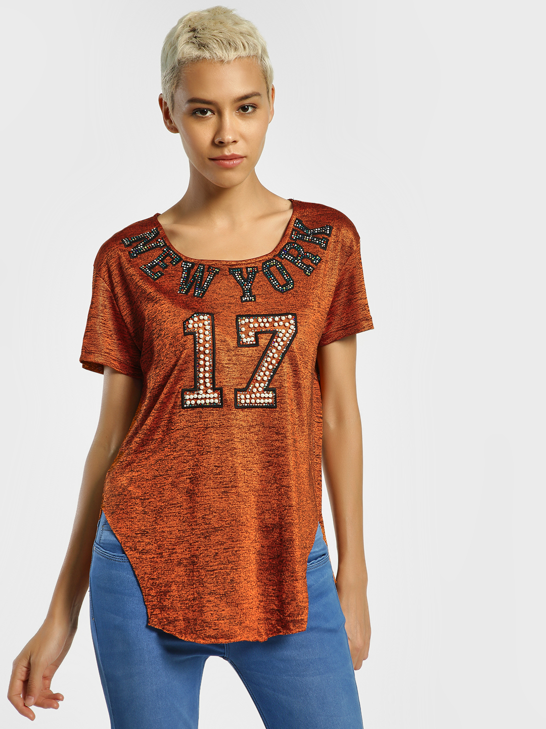 Privy League Brown Text Embellished Cut-Out T-Shirt 1