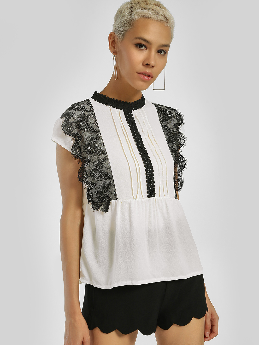 Privy League Multi Contrast Lace Panel Top 1