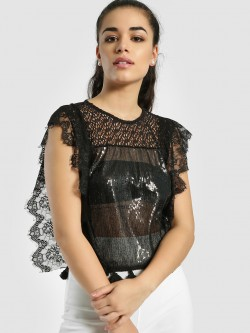 Privy League Lace Detail Sequins Sleeveless Top