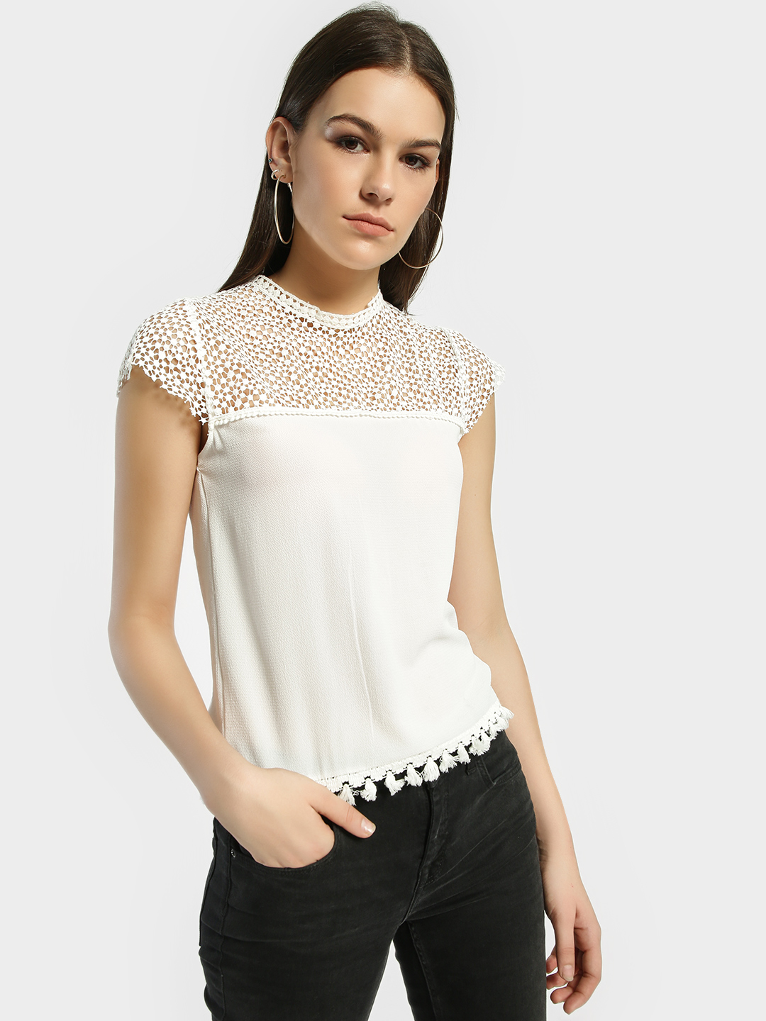 Privy League White Crochet Lace Detail Blouse 1