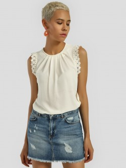 Privy League Lace Detail Sleeveless Blouse