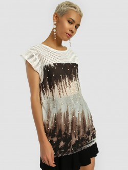 Privy League Pearl Embellished Printed Longline Blouse
