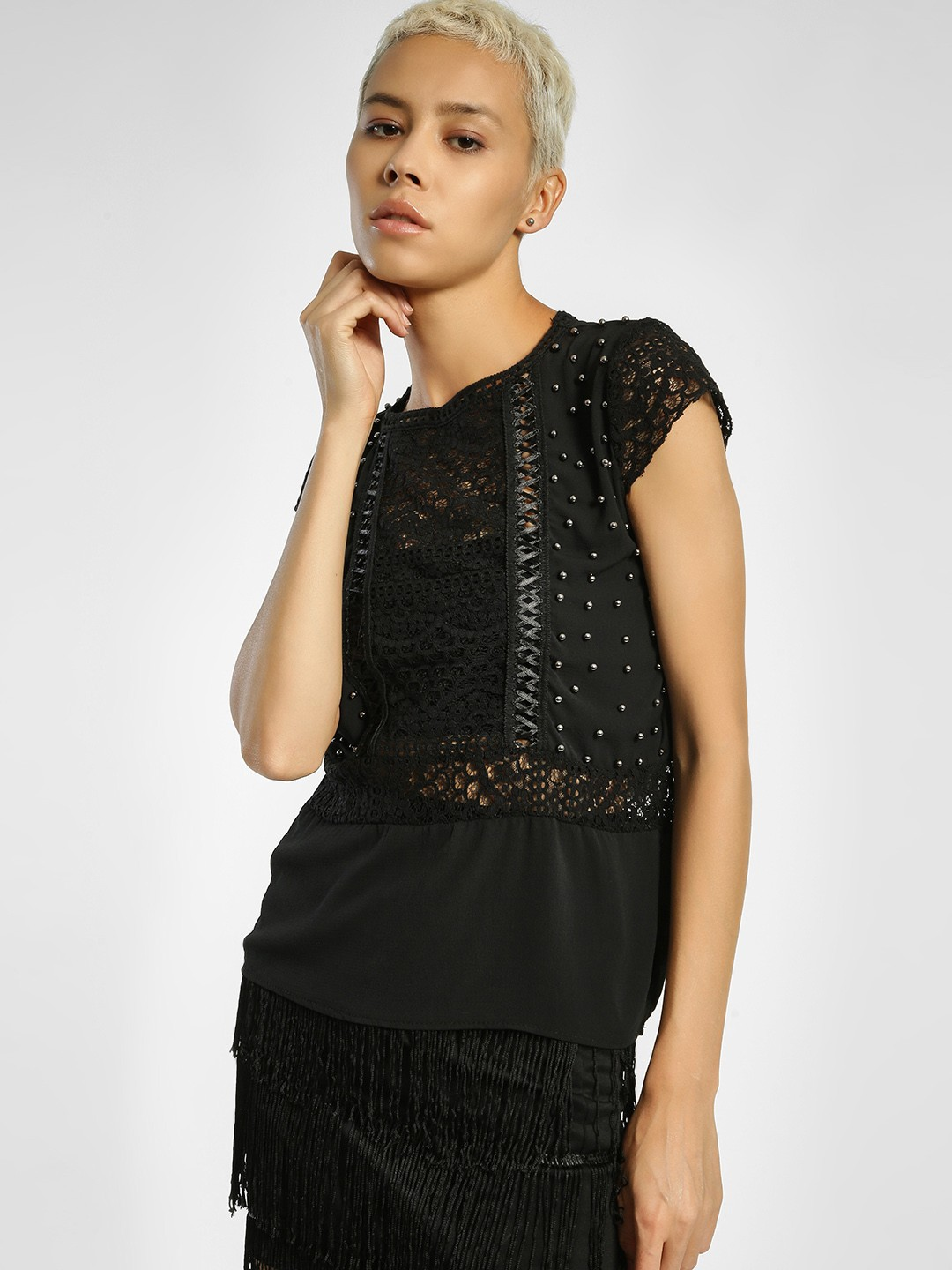 Privy League Black Lace Yoke Detail Embellished Top 1